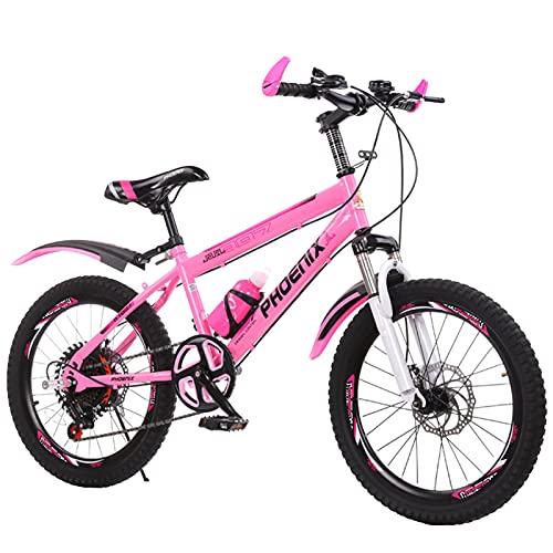 FUFU 7-14 Años Viejos Niños Y Niñas Niños Ajustables Bicicleta De Montaña, Rojo, Rosa, Azul(Size:20in,Color:Rosa)