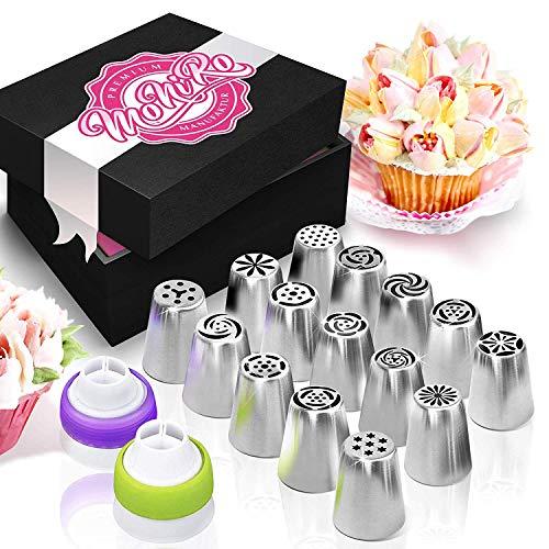 MoNiRo - Set di 33 beccucci professionali in acciaio inox, grandi beccucci russi + sac à poche in silicone e accessori per la decorazione di cupcake e torte - set di beccucci - fiori di rose - foglie