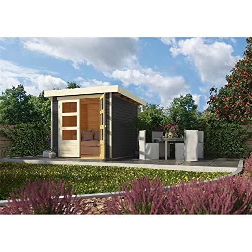 Röhrs Edition - Karibu Gartenhaus Walsrode 2 terragrau - Gerätehaus aus Fichtenholz - 213 x 217 cm - 19 mm Wandstärke - modernes Design mit Flachdach