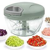 520 ml Handzerkleinerer manuelle Küchenmaschine, Zugschnur zum Schneiden von Gemüse, Zwiebeln, Knoblauch, Nüssen, Tomaten, Fleisch in Sekunden, gebogene Edelstahlklingen (Grün)