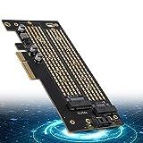 Tarjeta de expansión de Doble Disco PCIE a M.2 SATA + NVME M.2 SATA/M.2 NVME SSD PCI-E 3.0 x 4 Tarjeta PCI-E de 40 GBps de Nivel Inferior para 2230 2242 2260 2280 22110 Tamaño SSD M.2