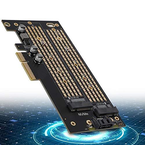 Tonysa PCIE auf M.2 SATA + NVME-Dual-Disk-Erweiterungskarte M.2 SATA/M.2 NVME-SSD PCI-E 3.0 x 4 40 GBit/s PCI-E-Karte für 2230 2242 2260 2280 22110 Größe M.2 SSD