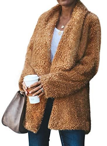 Acelitt Women Winter Cozy Warm Casual Oversized Long Sleeve Open Front Fuzzy Sherpa Coat Cardigan Fluffy Outerwear Jackets with Pockets Yellow Small