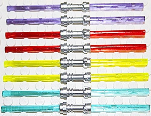 Lego Star Wars 8 Doppel-Laserschwerter 4 verschiedene Farben - Griff in FLAT SILVER