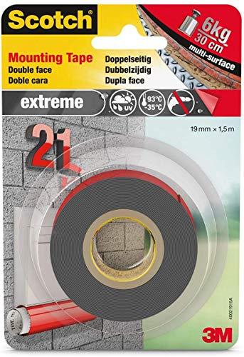 Scotch doppelseitiges Montageklebeband in Grau 40021915 – Extrem starker Halt – Für die Benutzung draußen geeignet – 19 mm x 1,5 m