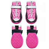 kyeese 4Pcs Dog Shoes Waterproof Anti-Slip Bottom Dogs Boots with Reflective Straps Adjustable