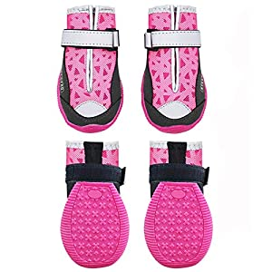 kyeese 4Pcs Dog Shoes Waterproof Anti-Slip Bottom Dog Boots Breathable with Reflective Straps Adjustable