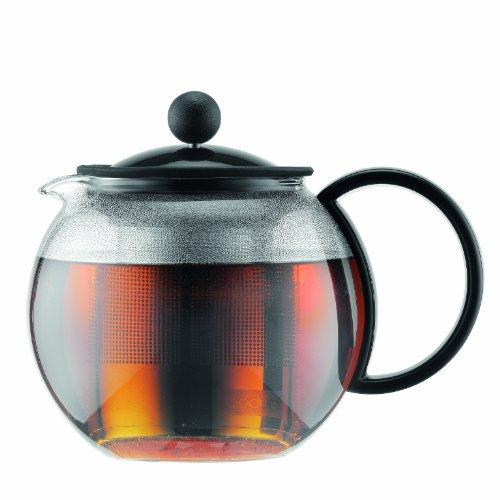 Bodum 1812-01 assam zaparzacz do herbaty (French Press System, stały filtr ze stali nierdzewnej), 0,5 l czarny
