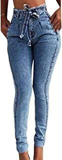 Beloved Women's Belted High Waisted Stretchy Slim Fit Bodycon Denim Jeans Pants Grey Medium