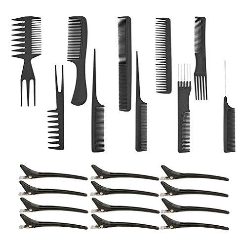MagiDeal Professionnel 10 Pcs Salon Barber Coupe De Cheveux Coiffure Barber Peignes Set + 12 Pcs Cheveux Styling Clips Noir