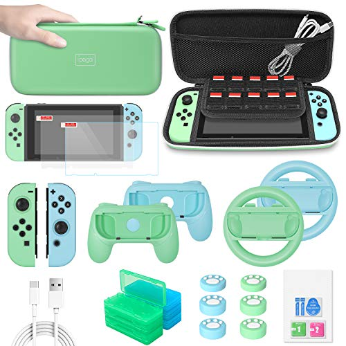 FASTSNAIL Switch Accessories Bundle Upgraded Essential Pack for Nintendo Switch with Carrying Storage Case & Screen Protector, Joy Con Handle Grips & Steering Wheels, Game Cases - Green