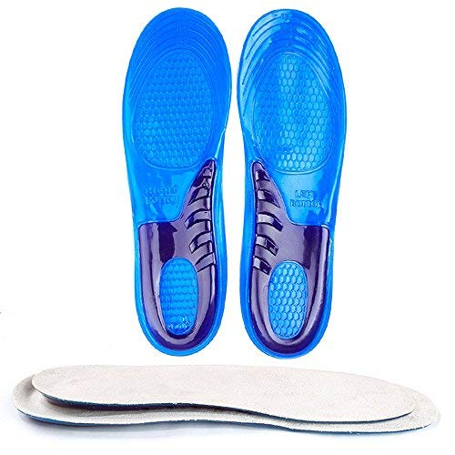 Nacome Gel Insoles,Shoe Inserts for Running, Hiking, More - Best Full Length Insoles for Men & Women - Advanced Design Lets Gel Insoles Absorb Shock (Blue, S)