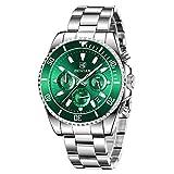 BENYAR Reloj para Hombre Cronógrafo Análogo Movimiento de Cuarzo Correa de Acero Inoxidable Impermeable 30M Dail Verde con Fecha Reloj de Pulsera para Hombre Luminoso Casual & Negocio