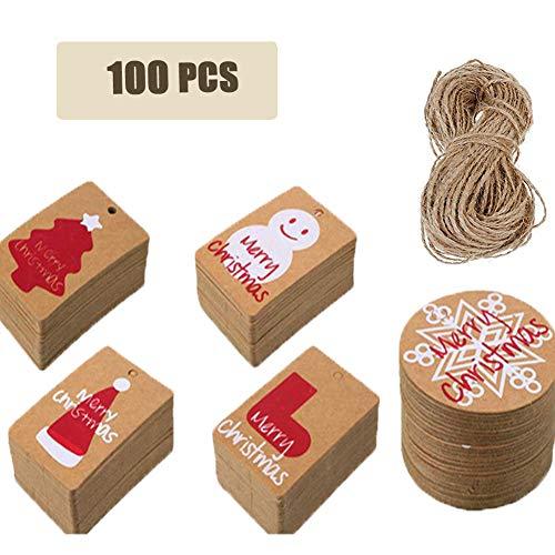 100pcs Etiqueta de Navidad, Regalo Etiquetas de Papel Kraft Con 10 m de Cuerda Adecuado para Navidad Boda Favor Regalo Decoracion