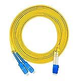 Jeirdus 3Meters 10ft LC to SC Duplex 9/125 Single-Mode Fiber Optic Cable Jumper Optical Patch Cord LC-SC