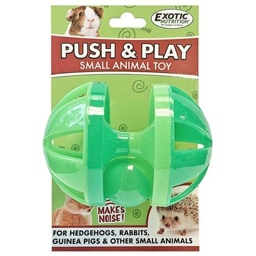 Push & Play Toy - Interactive Rolling Noisemaker Foraging Jingle Ball Cage Accessory - For Sugar Gliders, Rat, Chinchillas, Hedgehogs, Ferrets, Parrots, Guinea Pigs, Rabbits, Degus, & Other Small Pets