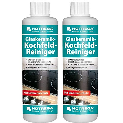 2 x HOTREGA Glaskeramik-Kochfeld-Reiniger 250ml Flasche