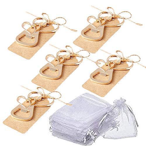 Apribottiglie a doppio cuore, color oro, con etichetta in carta kraft e sacchetto per bomboniere, regalo per gli ospiti, bomboniere di nozze e souvenir
