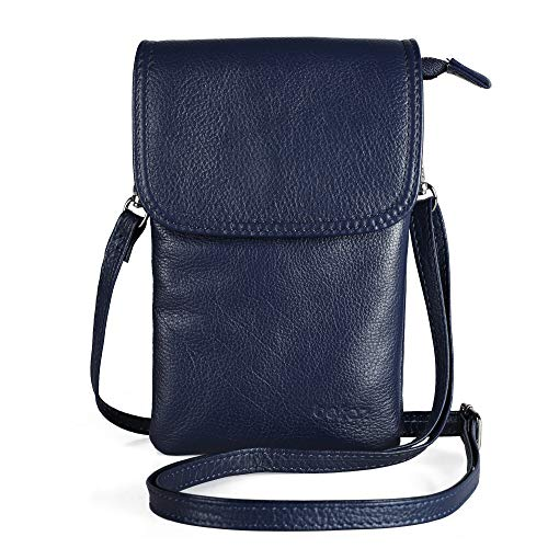 Befen Cell Phone Crossbody Wallet Purse, Women Small Leather Crossbody Bag - Fit iPhone Xs Max (Navy Blue)
