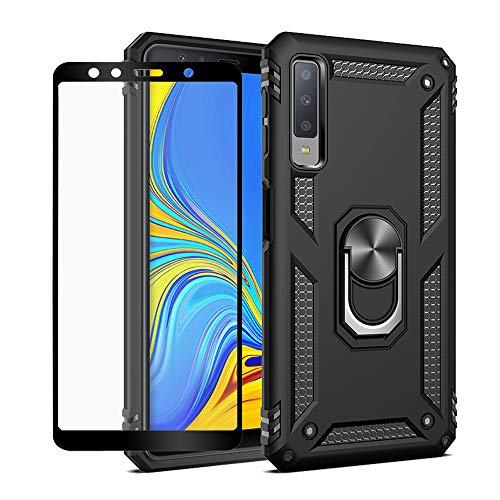 Strug for Samsung Galaxy A7 2018 /A750 Case,Heavy Duty Shockproof Protection Built-in 360 Rotatable Ring Magnetic Car Mount Case Cover with Screen Protector for Samsung Galaxy A7 2018(Black)