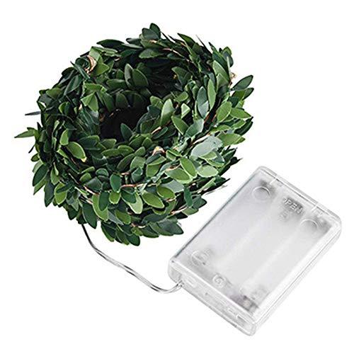 Solar Vine Plants - Guirnalda de luces LED con hojas verdes artificiales, guirnalda de pared
