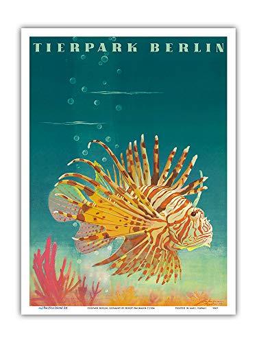 Pacifica Island Art - - Feuerfisch - Zoo und Aquarium - Retro Museums Plakat von Horst Naumann c.1964 - Kunstdruck 23 x 31 cm
