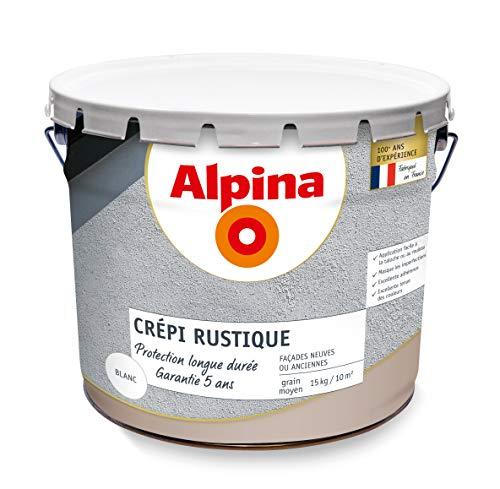 ALPINA Crépi rustique extérieur - Garantie 5 ans - Mat Blanc 15Kg 10m²