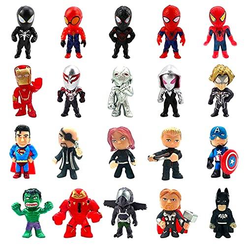 Decoración de Tartas Hilloly 20 piezas Superhéroes Cake Topper Spiderman MiniFigures Figura de Decoración de Pastel de Cumpleaños Baby Shower Birthday Party Decoración para Hornear para Niños