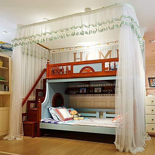 Etagenbett Vorhänge Moskitonetz mit U-förmigen Führungsschiene, Insektennetz Bett Vorhänge von der Decke, Schlafzimmer Canopy einfach zur Installation ( Farbe : Weiß , Größe : 250×150×265cm )