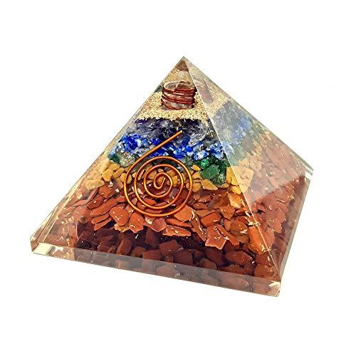 Pirámide Orgonita Piedras Multicolor 7x7cm 7 Chakras con Espiral y Virutas Transforma Energía Negativa a Positiva Feng Shui