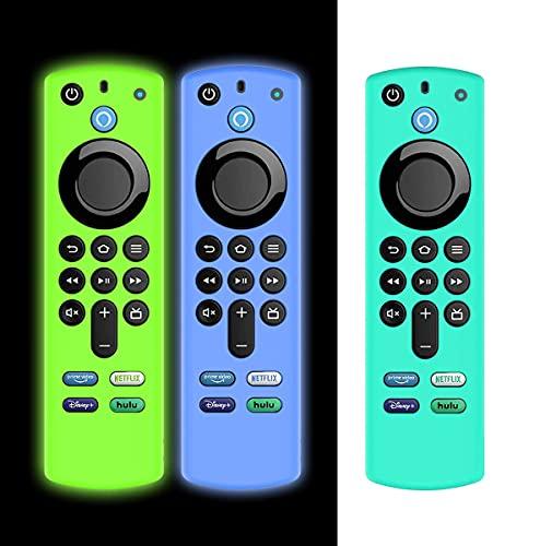 AIYAAIYA 3 PCS Schutzhülle für Alexa Sprachfernbedienung (3rd Gen) (2021 Release), Stoßfeste Silikonhülle für Fire TV Stick 4K 2021 Fernbedienung mit Anti-Verlust-Seil(Glühen Blau+Glühen Grün+Eisblau)