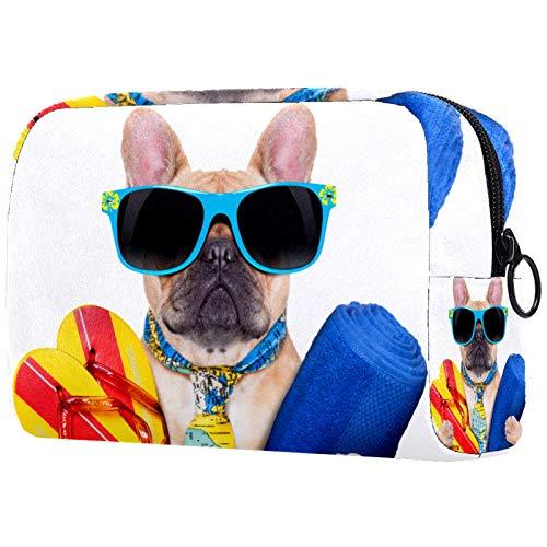 Kosmetiktasche Make-up Taschen für Frauen, kleine Make-up Tasche Reisetaschen für Toilettenartikel - Hund Flip Flops