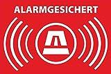 Aufkleber Alarmgesichert 52x35 mm - Rechteckig - rot