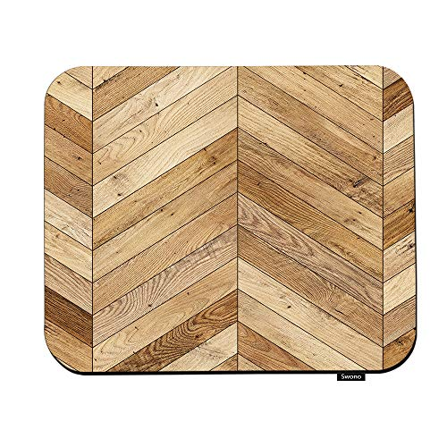 Swono Wood Mouse Pads Vintage Parquet Wavy Stripes Chevron in Brown Wooden Wall Mouse Pad for Laptop Funny Non-Slip Gaming Mouse Pad for Office Home Travel Mouse Mat 7.9'X9.5'
