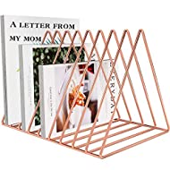 Files Folder Stand Desktop File Organizer, Triangle Wire Magazine Holder Book Shelf, 9 Slot File Sorter Eye-catching Decoration for Indoor Office Home, Photography Props, Fashion in INS (Rose Gold)