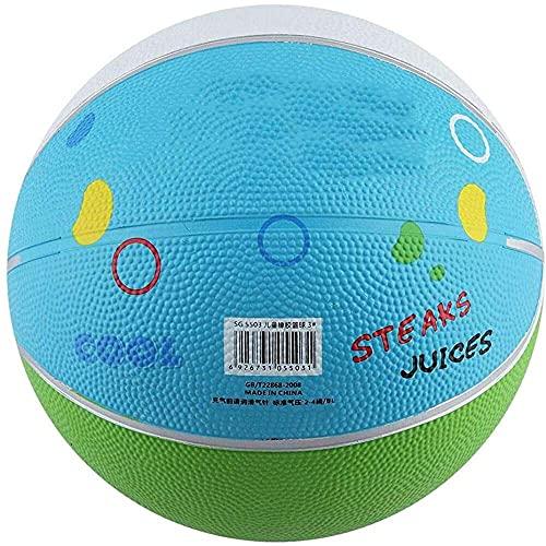 junmo shop Baloncesto de los niños, mini coloridos niños baloncesto inflable de goma miniball juego deportivo bola tamaño 3 lindo deporte bola