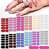 12 Fogli Adesivi per Unghie in Tinta Unita Strisce di Smalto Glitter Adesivi Autoadesivi per Smalto per Unghie Impacco Completo per Unghie Manicure DIY Colore per Donna (Colore Pastello)