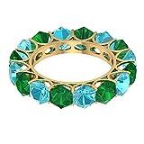 Anillo de eternidad con piedras preciosas, anillo de esmeralda creado en laboratorio de 3,8 quilates, anillo suizo de topacio azul de 4,4 ct 5 mm, anillo de boda alterna, 18K Oro amarillo, Size:EU 52