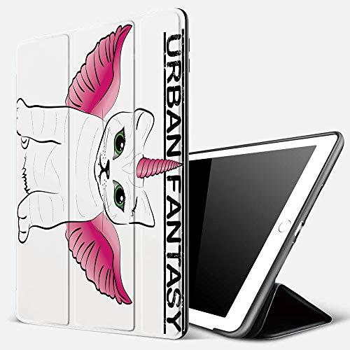 Funda iPad 10.2 Inch 2018/2019,Unicorn Cat, Urban Fantasy Theme Cat Figure con Pink Wings y Horn Vintage Fiction Art, Pink Black,Cubierta Trasera Delgada Smart Auto Wake/Sleep