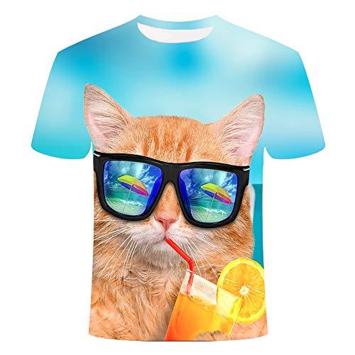 QWJYREMN Camiseta Impresa Camiseta Casual para Hombre Gatito Creativo con Gafas De Sol Camisetas De Verano Impresas En 3D Camiseta De Manga Corta Camiseta De Cuello Redondo Al Aire Libre para Vacacio