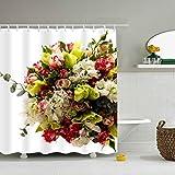 Tenda da doccia in Microfibra Rose Lisianthus Russell con Bouquet di Fresia