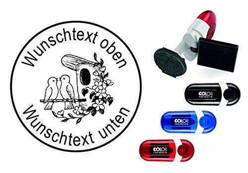 Geocachingstempel « VOGELHAUS » mit persönlichen Cachername / Nickname Runder Stempel Geocaching Pocketstempel