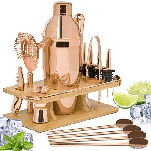 ONVAYA Juego de cóctel en oro rosa | Set de regalo con soporte de bambú | Juego de coctelera | Juego profesional de barman | 16 piezas con coctelera, medidor de bar, vertedor etc. de acero inoxidable