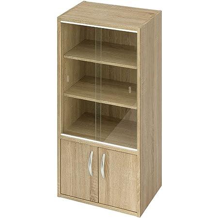 ぼん家具 キャビネット 木製 ガラス ミニ 引き戸 おしゃれ 食器棚 幅43cm 扉 オーク