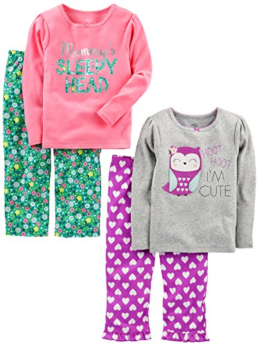 Simple Joys by Carter's Baby Girls' Toddler 4 Piece Pajama Set, Owl/Floral, 2T