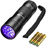 TaoTronics 12 LEDs 395nm UV Blacklight Flashlights with 3 AAA Batteries