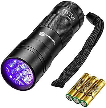 TaoTronics 12 LEDs 395nm UV Blacklight Flashlights with 3 AAA Batteries