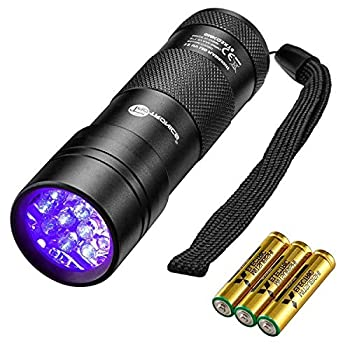 TaoTronics Black Light 12 LEDs 395nm UV Blacklight Flashlights Detector for Pets Urine and Stains with 3 Free AAA Batteries