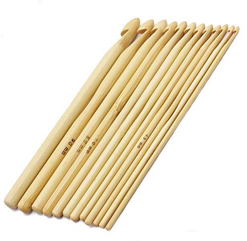 FloraKnit 12-Pack 3mm-10mm Bamboo Hand Crochet Hooks Kit for Beginner(12PCS White)