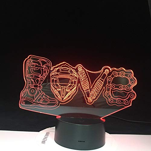 Liebe Fußball Sport Ballspiel 3D Lampe Schlafzimmer Dekoration 7 Farben mit Kindern Fern Urlaub Geschenk Nachtlicht 2 Kein Controller